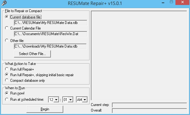 unlike compact repair which is built into resumate itself repair is a separate program if you are using resumate 12 or higher repair is probably