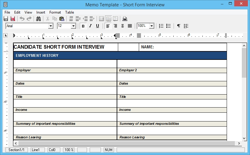 ShortFormInterview  Interview Question Template
